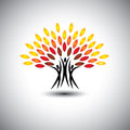 Happy joyous people as trees of life eco concept vector this graphic icons also represents harmony joy happiness friendship Stock Photo