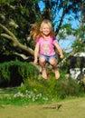 Happy jumping child