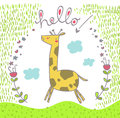 Happy jumping giraffe says hello illustrated postcard Royalty Free Stock Image