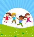 Happy jumping kids Royalty Free Stock Image