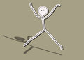 Happy jumping man hand drawn stick man Royalty Free Stock Images