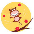 Happy jumping monkey and red flowers in the air Stock Image