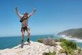 Happy jumping old man Royalty Free Stock Photo