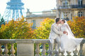 Happy just married couple in Paris Royalty Free Stock Photo