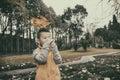 Happy kid at autumn Royalty Free Stock Photo