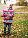 Happy kid in autumn park this image has attached release Stock Photography