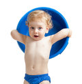 Happy kid with blue plastic bowl isolated Royalty Free Stock Photo