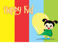 Happy kid with colorful background this vector easy to edit Stock Photos