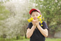 Happy kid with dandelions Stock Photography
