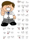 Happy Kid doctor cartoon expresion set Royalty Free Stock Photo