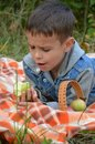 Happy kid eating fruits. happy cute child boy eating an apple. lies on a coverlet in an autumn park Royalty Free Stock Photo