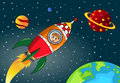 Happy kid exploring in space rocket illustration featuring a flying by a cartoon Stock Photos