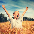 Happy kid in the field vintage photo of wheat Stock Images