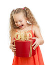 Happy kid girl holding red gift box Stock Photo