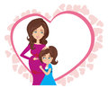 Happy kid girl hugging pregnant mother`s belly - card Royalty Free Stock Photo