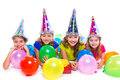 Happy kid girls birthday party balloons and gift Royalty Free Stock Photo