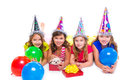 Happy kid girls puppy dog gift in birthday party balloons on white background Royalty Free Stock Image