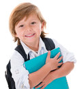Happy kid going to school back isolated over white background Royalty Free Stock Photo