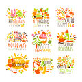 Happy Kid Holiday Colorful Graphic Design Template Logo Series,Hand Drawn Vector Stencils