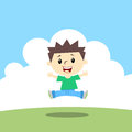 Happy kid jumping in landscape Royalty Free Stock Photography
