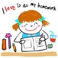 Happy kid love to do homework illustration