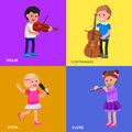 Happy kid playing on contrabass singing dancing ballet cute vector character child flute violin education and child Royalty Free Stock Photo