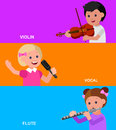 Happy kid playing on contrabass singing dancing ballet cute vector character child flute violin education and child development Royalty Free Stock Photo
