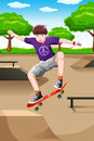 Happy kid playing skateboard Stock Images