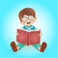 Happy kid reading book