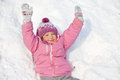 Happy kid in winter child girl on snow Royalty Free Stock Image