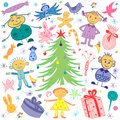 Happy Kids Around Fir Tree with Gifts and Candies. Colorful Funny Children`s Drawings of Winter Holidays Symbols.