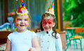 Happy kids on birthday party colorful Royalty Free Stock Photos
