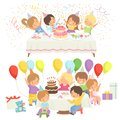 Happy Kids at Birthday Party Set, Cute Boys and Girls Sitting at Festive Table with Cake Vector Illustration