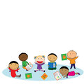 Happy kids and colorful books illustration with Stock Images