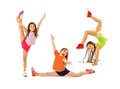 Happy kids doing exercises group of little girls Stock Photo