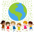 Happy kids and earth Stock Images