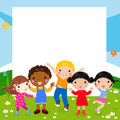Happy kids and frame illustration Stock Images