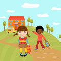 Happy kids going to school Stock Images