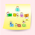 Happy kids hand drawing character with love words on sticker not