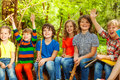 Happy kids having fun in the outdoor summer camp Royalty Free Stock Photo