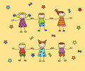 Happy kids holding arms each other among stars Royalty Free Stock Image