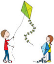 Happy kids illustration of a girl and a boy with kites Stock Photos