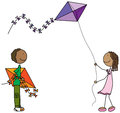 Happy kids illustration of a girl and a boy with kites Stock Photo