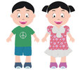 Happy kids illustration of two smiling Royalty Free Stock Image