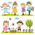 Happy kids outdoor in spring season
