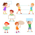 Happy kids with paper cards and banners. Cartoon children holding blank signs. Vector set Royalty Free Stock Photo