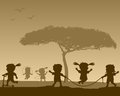Happy Kids at the Park Silhouettes Royalty Free Stock Photo