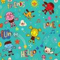 Happy kids pets friends seamless pattern
