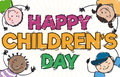 Happy Kids Playing and Celebrating in Children`s Day, Vector Illustration