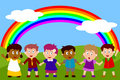 Happy Kids with Rainbow Royalty Free Stock Image